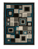 Action vloerkleed kleur zwart blauw 3222_