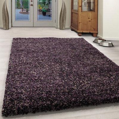 Hoogpolig lila gemeleerd vloerkleed Shaggy Queen 4500