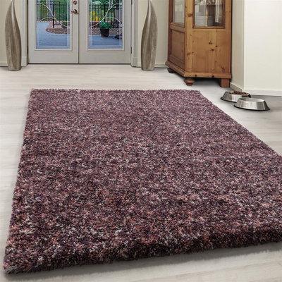 Hoogpolig pink gemeleerd vloerkleed Shaggy Queen 4500