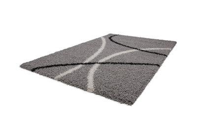 Hoogpolig design vloerkleed Twikel 320 Zilver