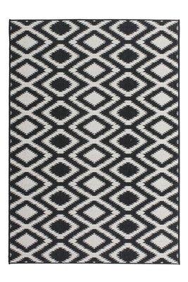 Buiten en binnen tapijt - vloerkleed Arrow zwart - wit