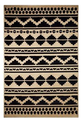 Katoen vloerkleed Sandos 300 kleur Zwart Naturel
