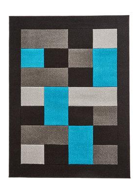 Vloerkleed Madras kleur zwart blauw MT04
