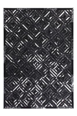 Lederen vloerkleed Denise Zwart met metaalfolie