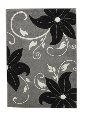 Aanbieding vloerkleed Victoria kleur grijs zwart OC15